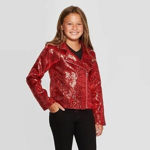 Jojo Siwa red sequined sparkly jacket size 10/12 L
